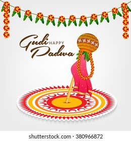 Vector illustration of a background for Happy Gudi Padwa.