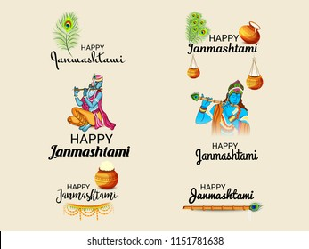 Vector illustration of a Background for Happy  Janmashtami Indian Festival of Lord Krishna Birthday.