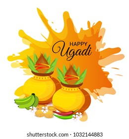 Vector illustration of a Background for Happy Ugadi(Hindu New Year).
