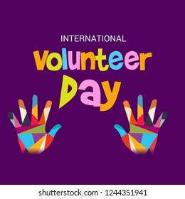 Vector illustration of a Background for International Volunteer Day.
