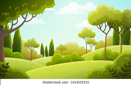 Vector illustration background of the Italian countryside. Hill landscape with pines and cypresses. Spring scenery with green grass and blue sky.
