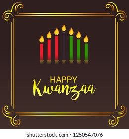 Vector illustration of a Background for Kwanzaa with traditional colored candles representing the Seven Principles.