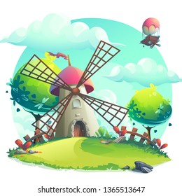 Vector illustration background mill on the hill. For design websites and mobile phones, printing.