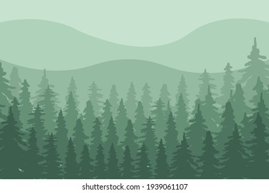 Vector illustration background with nature idea. This design background on greenish color that capture the natural beauty of mountains surrounded by pine trees.