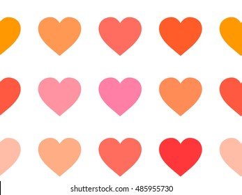 Vector illustration, background with pink, red and peach hearts, seamless pattern.