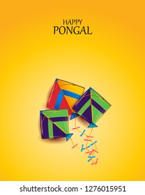 Vector illustration of a background or poster With colorful pots for religious traditional harvest festival Happy Pongal.