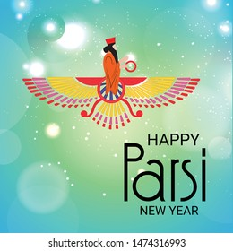 Vector illustration of a background or poster For Happy Parsi New Year.