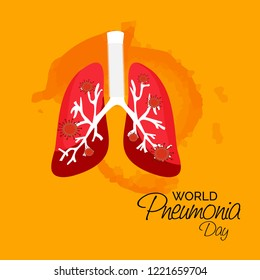 Vector illustration of a Background or Poster for World Pneumonia Day.