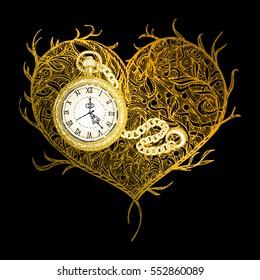 vector illustration background. Print T-shirt, souvenir, textiles. Symbol, time, watch, period, love. Handmade, beauty, antique, vintage, modern, bohemian, fashion, heart, core, soul, amour, gold, old