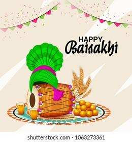 Vector illustration of a Background for Punjabi Festival Happy Baisakhi Celebration.