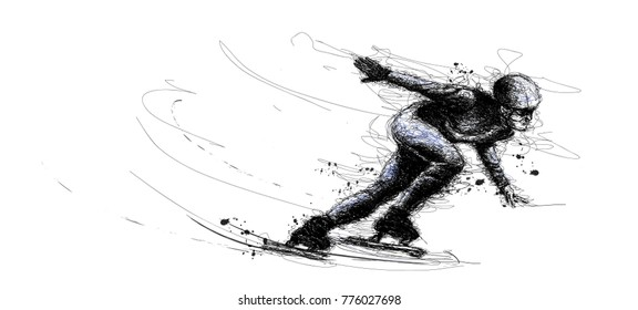 Vector illustration background in scribble of XXIII style Winter games. Olympic speedskater athlete speed skating ice arena from scribble silhouette
