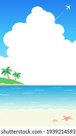 Vector illustration background of sea, clouds and palm trees