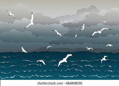 Vector illustration background of seagulls flying in the thunder sky over the stormy sea
