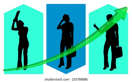Vector illustration background with a silhouette of a businesswoman.