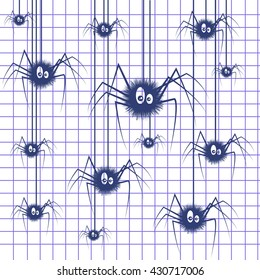 Vector illustration of the background with spiders on a notebook paper.