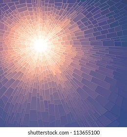 Vector illustration background of sun glow with rays in unclouded blue sky (stained glass window).