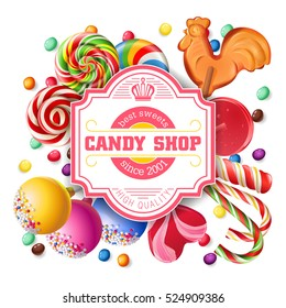 Vector illustration background of sweet candy, sweetmeats, lollipops. Frame made of sweets