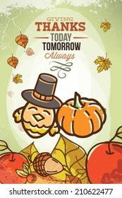Vector illustration with background typography and Thanksgiving.