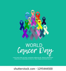 Vector illustration of a Background for World Cancer Day (February 4). Colorful Awareness Ribbons blue, red, green, pink and yellow Color for Supporting People Living and illness.