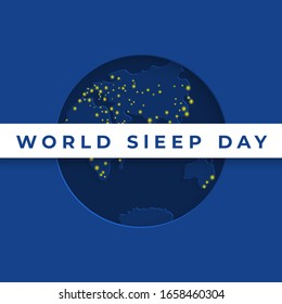 Vector illustration background for World Sleep Day. Vector blue banner World Sleep Day with a night map of the world, and burning city lights.
