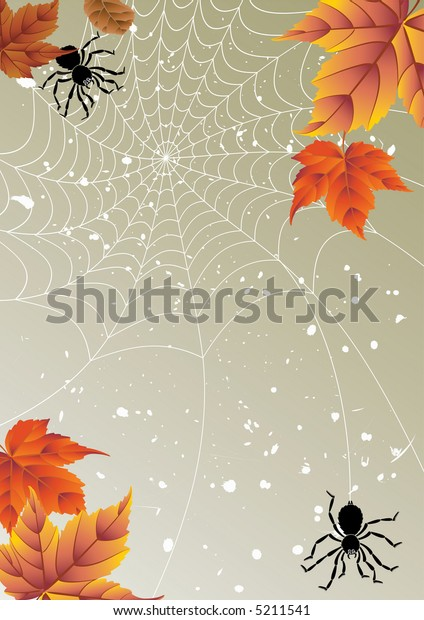 Vector illustration - backgrounds from autumn leaves and spiders