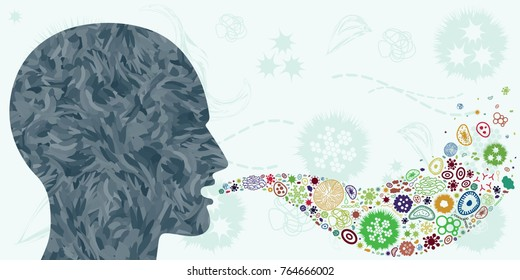 vector illustration of bacteria and viruses spreading from persons mouth through air like influenza or rhinovirus