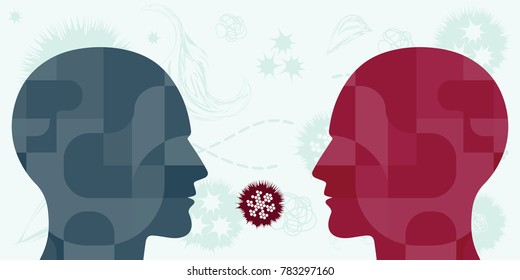 vector illustration of bacteria and viruses spreading among people through air like influenza or rhinovirus
