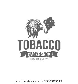 vector illustration badge Native American smokes a pipe with tobacco, isolated of vintage monochrome style for advertising and web design