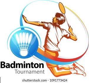 Vector illustration, Badminton tournament event symbol