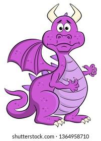 vector illustration of a baffled cartoon dragon