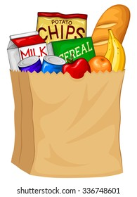 Vector illustration of a bag filled with groceries.