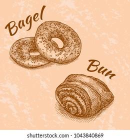 Vector illustration of bagels and bun with jam / caramel / chocolate / poppy. Bon appetit