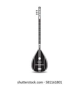 Vector illustration of baglama saz isolated on white background. Turkish string plucked musical instrument, flat black and white design.