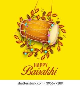 Vector illustration of baisakhi festival celebration background.