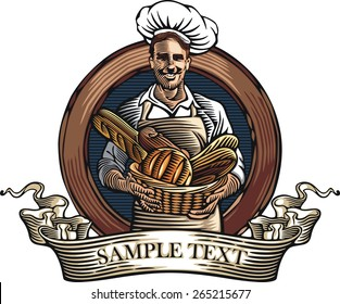 Vector illustration of a baker, holding a basket with loaves of bread, done in retro woodcut style.