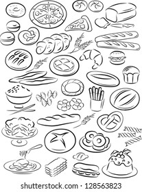 vector illustration of bakery collection in black and white