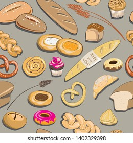 Vector illustration of bakery products on grey background. Seamless pattern