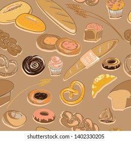 Vector illustration of bakery products on light brown background. Seamless pattern