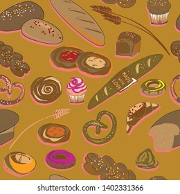 Vector illustration of bakery products on golden background. Seamless pattern