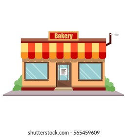 Vector illustration bakery shop front. Street local restaurant building exterior. European baker market facade.  Cafe storefront