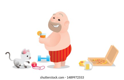 Vector illustration of bald fat man drinking orange juice. ignore junk food. Concept of Strong healthy fat man. Funny cartoon