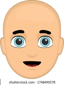Vector illustration of a bald person's face