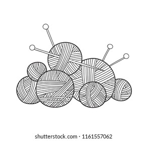 Vector illustration of ball of yarn with knitting needles , Can be used as a sticker, icon, logo, design template, coloring