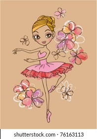 vector illustration of a ballerina with floral background