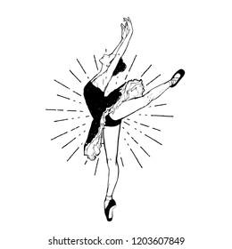 Vector illustration - ballerina isolated on white background. Ballet