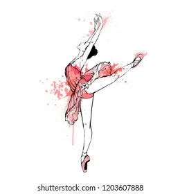 Vector illustration - ballerina isolated on white background. Ballet