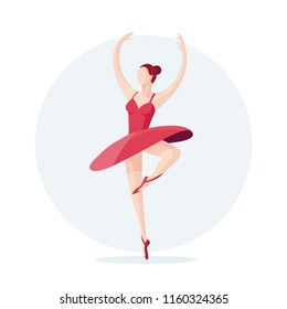 Vector illustration of a ballerina. Young beautiful ballerina dancing. Flat vector illustration.