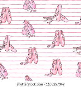Vector illustration . Ballet accessories, pointes . Vector pen style objects set. Print design. Element of seamless pattern.