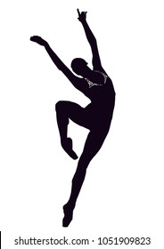Vector illustration of a ballet dancer girl in black and white
