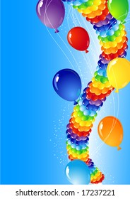 vector illustration - balloons in the sky